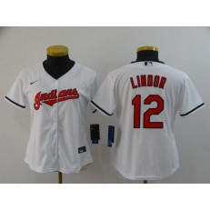 MLB Cleveland Indians #12 Francisco Lindor White Nike Women 2020 Cool Base Jersey